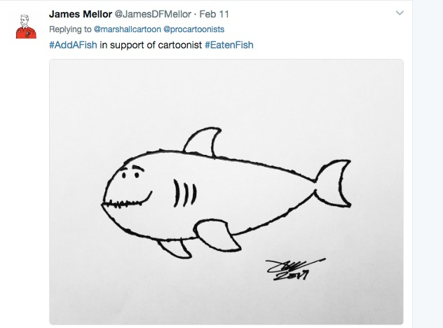 James was among hundreds of illustrators who responded to the #EatenFish campaign