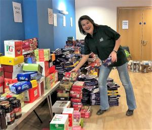 Sara Gibb with Food Parcels