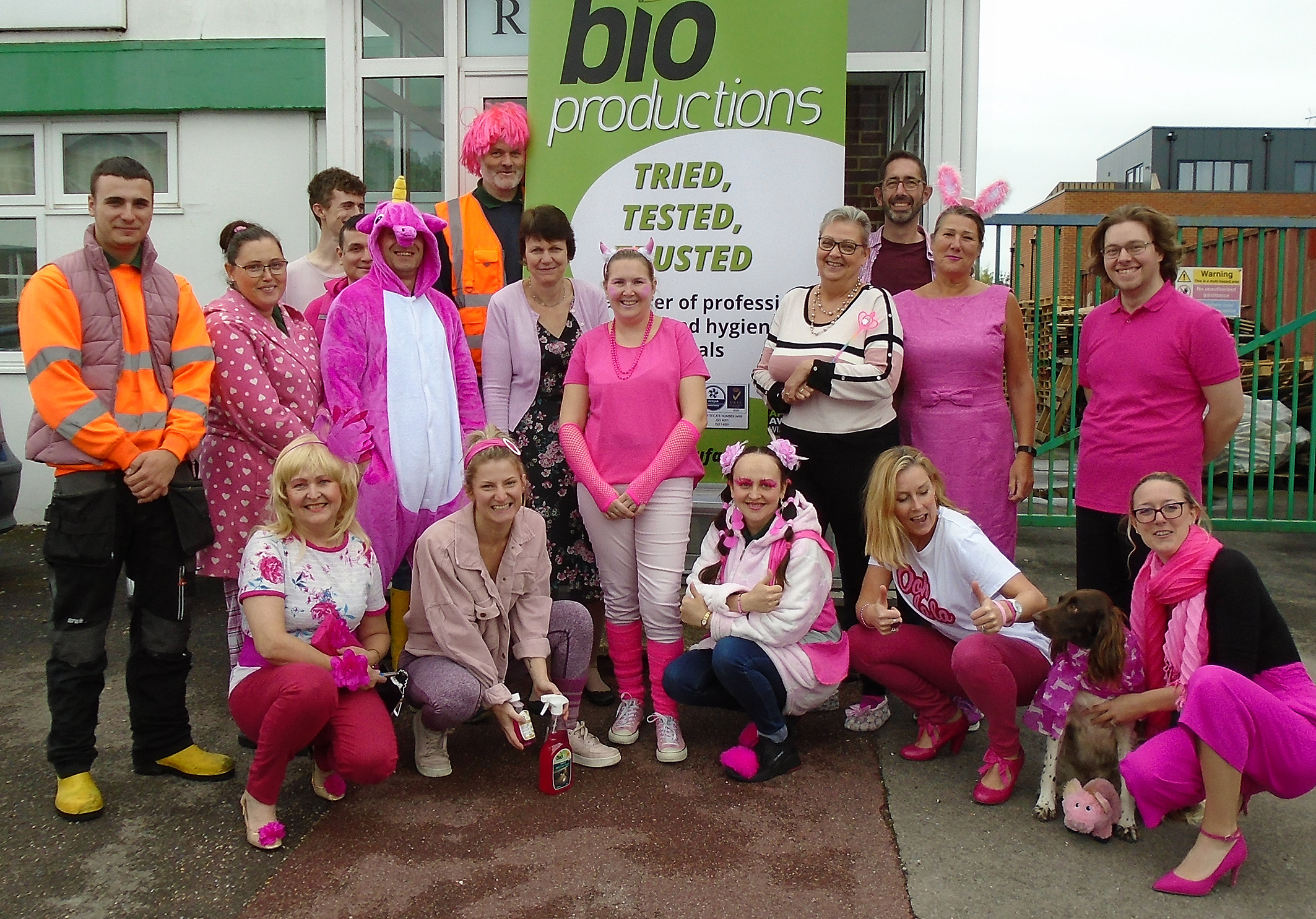 Bio-Production staff sport pink